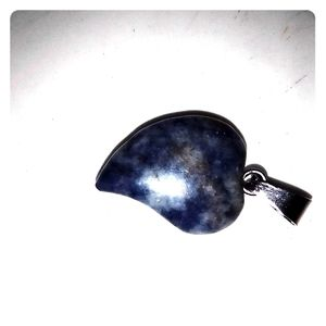 Jewelry - Sodalite hand carved pendant w/ 2blk leather cords